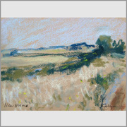 Pastel drawing of Holme Marshes, Norfolk