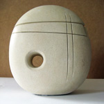 Divided Form sculpture carved from Caen Limestone